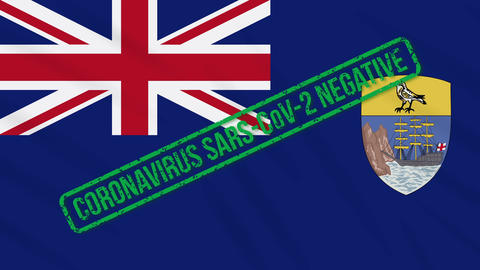 Saint Helena swaying flag with green stamp of freedom from coronavirus, loop Animation