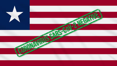Liberia swaying flag with green stamp of freedom from coronavirus, loop Animation