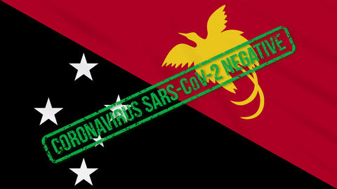 Papua New Guinea swaying flag with green stamp of freedom from coronavirus, loop Animation