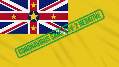 Niue swaying flag with green stamp of freedom from coronavirus, loop Animation