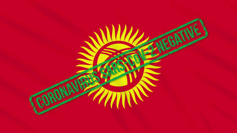 Kyrgyzstan swaying flag with green stamp of freedom from coronavirus, loop Animation
