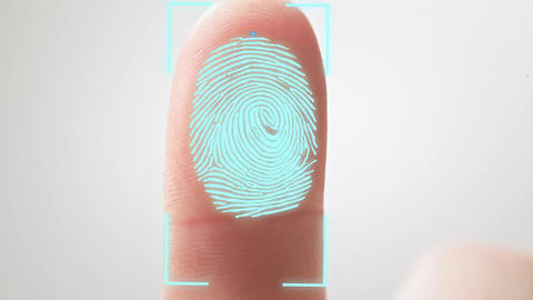Shopping by finger Touch. ID Fingerprint scan Access icon. Touch screen. Concept Live Action