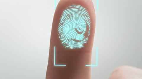 futuristic digital processing of biometric fingerprint scanner. Concept of Live Action