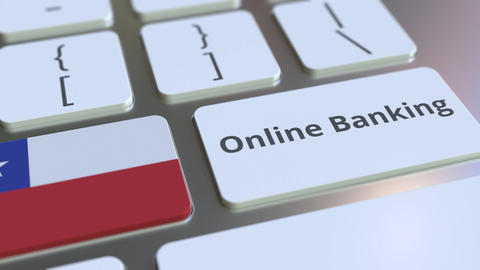 Online Banking text and flag of Chile on the keyboard. Internet finance related Live Action
