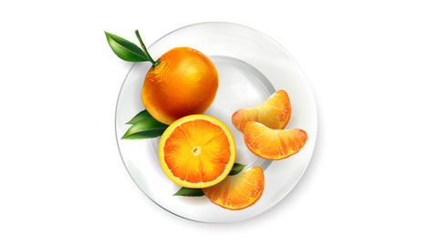 The appearance of orange tangerines on a white plate Animation