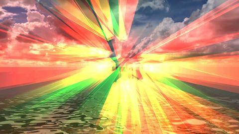 619 4k 3d animated landscape of sea and rainbow sky Animation