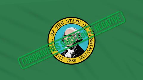 Washington US state swaying flag with green stamp of freedom from coronavirus Animation