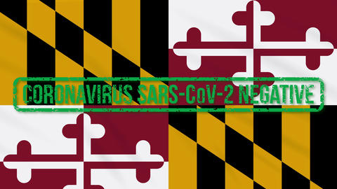 Maryland US state swaying flag with green stamp of freedom from coronavirus Animation