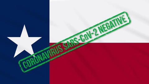 Texas US state swaying flag with green stamp of freedom from coronavirus, loop Animation