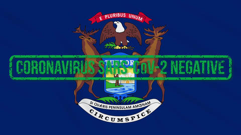 Michigan US state swaying flag with green stamp of freedom from coronavirus Animation