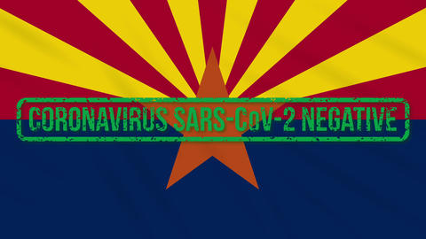Arizona US state swaying flag with green stamp of freedom from coronavirus, loop Animation