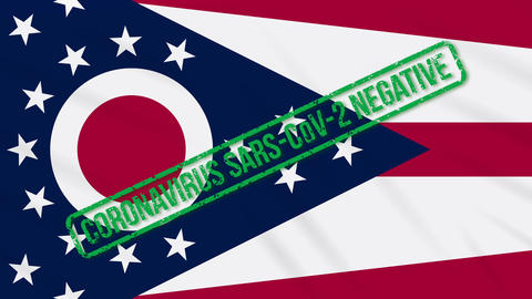 Ohio US state swaying flag with green stamp of freedom from coronavirus, loop Animation