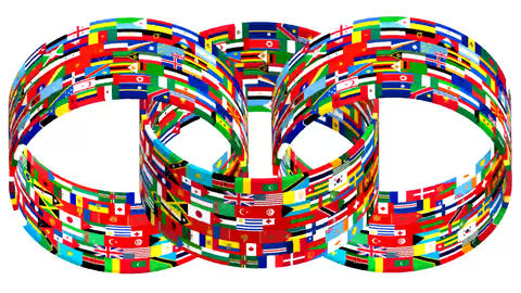 Flags Of The World Rotate. 3d Animation