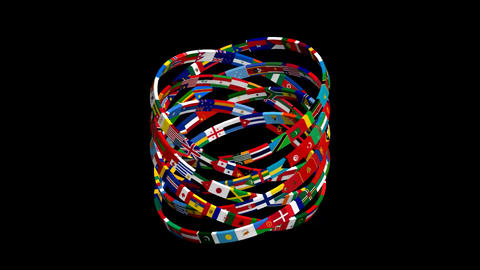 Flags Of The World Rotate. 3d Animation 1