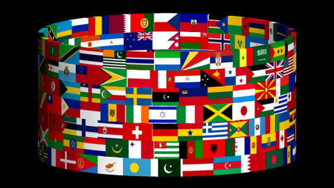 Flags Of The World Rotate. 3d Animation 2