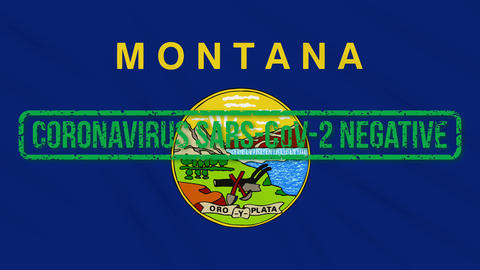Montana US state swaying flag with green stamp of freedom from coronavirus, loop Animation