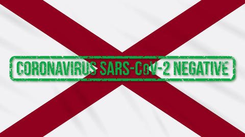 Alabama US state swaying flag with green stamp of freedom from coronavirus, loop Animation