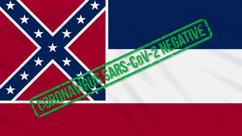 Mississippi US state swaying flag with green stamp of freedom from coronavirus Animation
