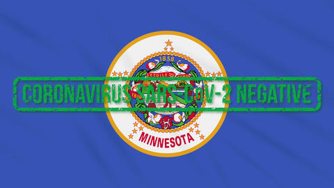 Minnesota US state swaying flag with green stamp of freedom from coronavirus Animation