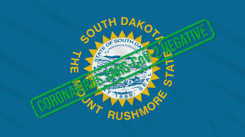 South Dakota US state swaying flag with green stamp of freedom from coronavirus Animation