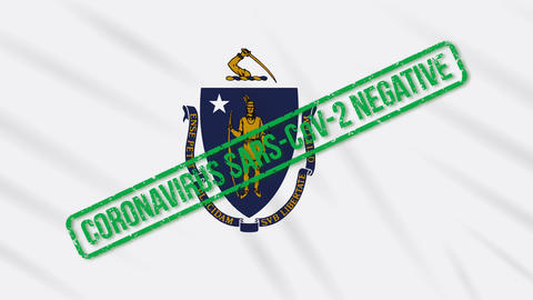 Massachusetts US state swaying flag with green stamp of freedom from coronavirus Animation