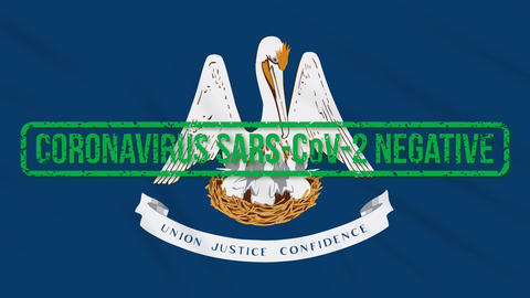 Louisiana US state swaying flag with green stamp of freedom from coronavirus Animation
