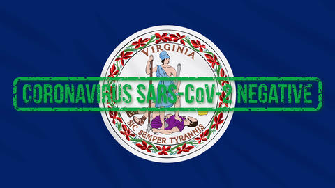 Virginia US state swaying flag with green stamp of freedom from coronavirus Animation