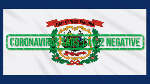 West Virginia US state swaying flag with green stamp of freedom from coronavirus Animation
