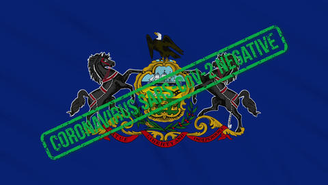 Pennsylvania US state swaying flag with green stamp of freedom from coronavirus Animation