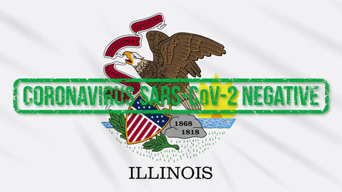 Illinois US state swaying flag with green stamp of freedom from coronavirus Animation