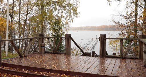 The Long pier on the lake, Terrace at the lake, the Autumn at the lake Boroye Live Action