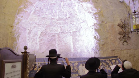 Jewish prayers praying at the tomb of King David in Jerusalem Live Action