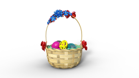 Easter eggs in straw basket, transparent background, animation Live Action