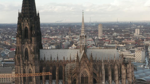 AERIAL: Cologne Cathedral Skyline on beautiful sunny day Live Action