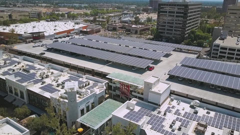 Aerial of a modern solar panel project on Topanga Mall, drone commercial Live Action