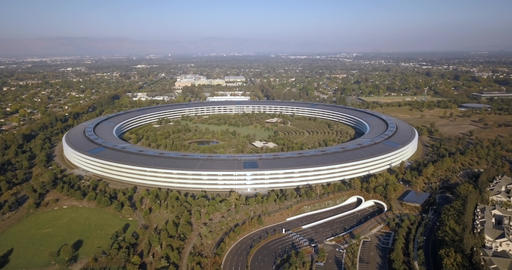 Aerial of Apple Park Corporate Building, Spaceship, Apple Inc Headquarters Live Action