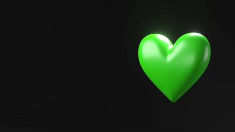 Green broken heart objects in black text space Animation