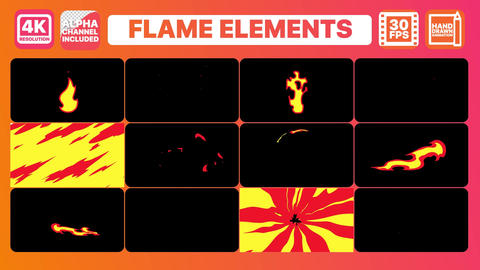 Flames And Titles Plantilla de After Effects