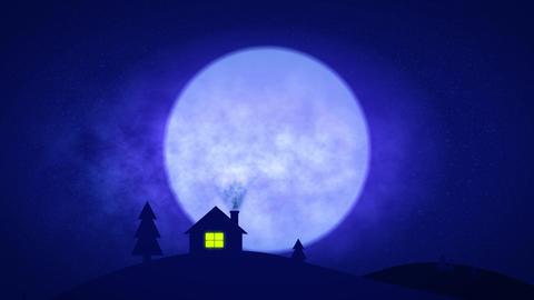 House in night pop up style Blue - 4k CG動画
