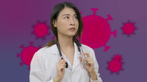 Corona Asian female doctor in hospital looking worried 2 Live影片
