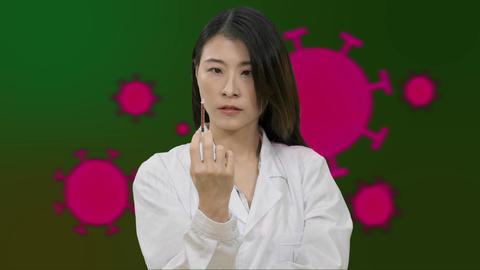 Corona Asian female doctor squeezing syringe Live影片