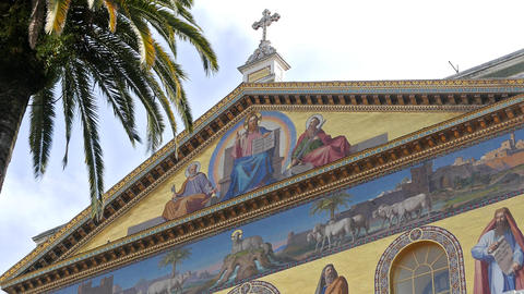 The frescoes above the entrance. Basilica of St. Paul Outside the Walls. Rome, I Footage