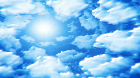 Clouds revolve around the sun seamless loop Animation