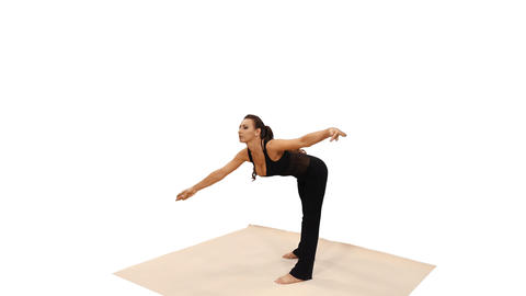 Side view of a brunette young woman doing yoga, 4k shot with alpha channel Footage