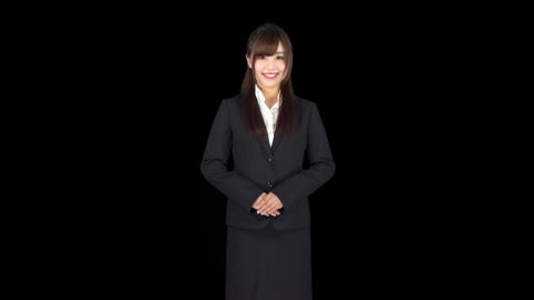 Young Japanese business woman bows Footage