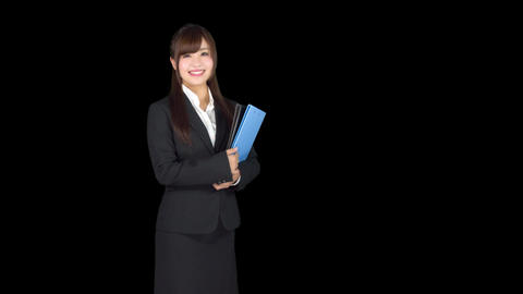 Young Japanese woman secretary holding files Footage