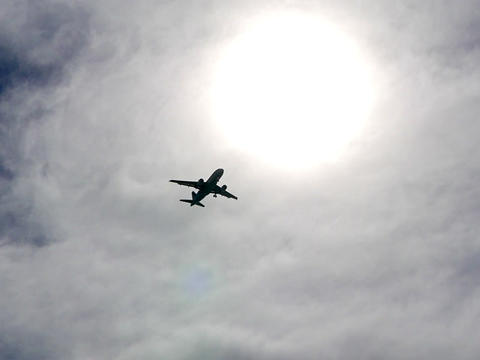The aircraft flies in the sun. Rome, Italy Footage