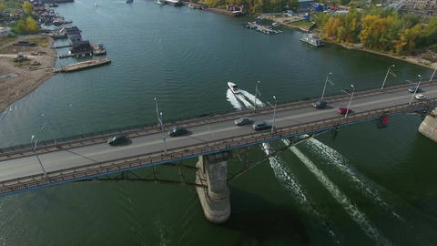 Aerial footage of traffic at bridge Footage