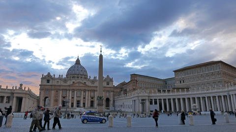 Basilica and St. Peter's Square, Evening. Rome, Italy Footage