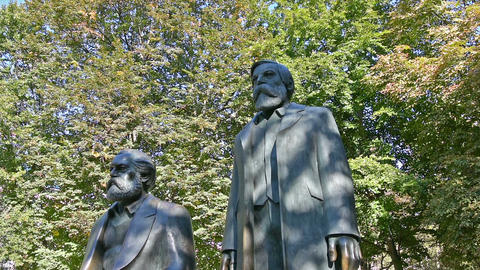 Marx and Engels monument Footage